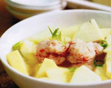 Công thức nấu canh tôm nấu sa-kê